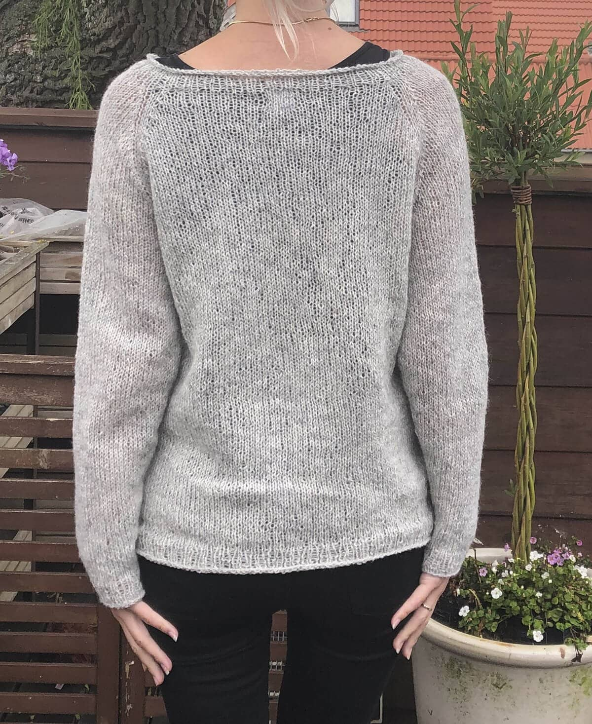 Lysegrå lammeuld sweater